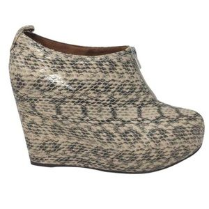 Jeffrey Campbell Wedge Ankle Boots Snakeskin 8.5